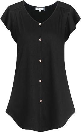 145516abf11 FINMYE Women s Summer Ruffle Sleeve Blouses Top Button Decor Tunics Shirts