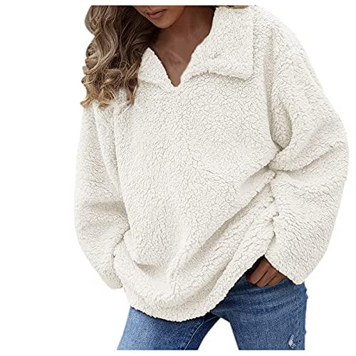 NHNKB Chaqueta de invierno para mujer, sudadera de invierno cálida y mullida, de lana, de felpa, ropa exterior de lana sintética, Blanco, XL