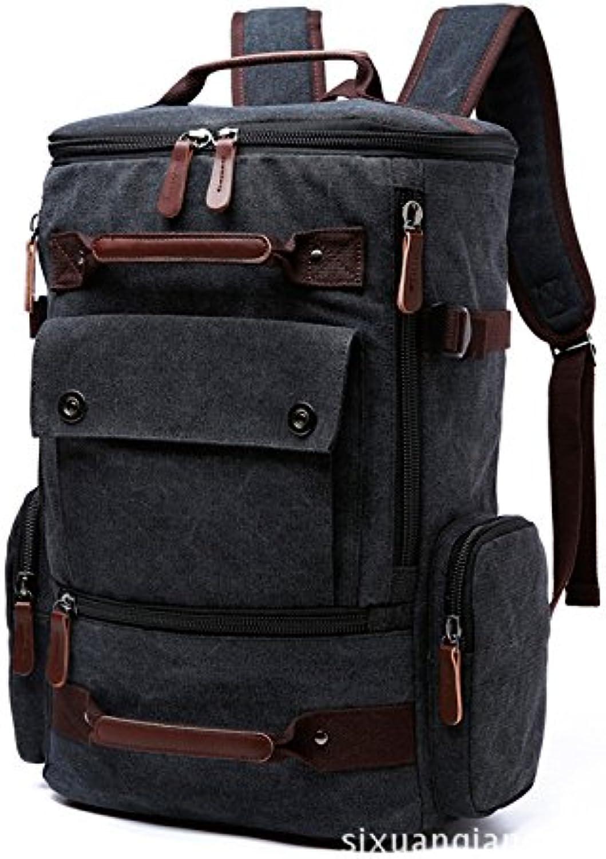 Canvas Bag MultiFunction Men's Backpack LargeCapacity Mountaineering Bag MultiPurpose Outdoor Shoulder Bag 42  17  30CM, Black