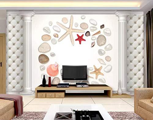Romeinse zuil, schelpen, zeestersteen, soft pak, tv-sofa, muur, 3D 450(L) x300(H) cm