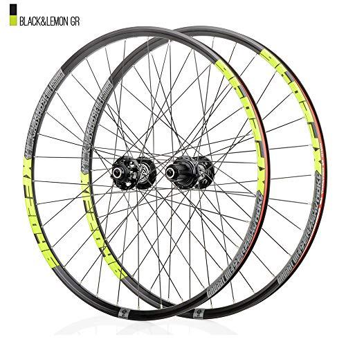 Juego ruedas Conjunto bicicleta montaña Verde MTB doble pared Aleación aluminio Cubo rueda libre Freno disco llanta Liberación rápida Rodamientos Ciclismo delantera rueda trasera,8-12 velocidad,29'
