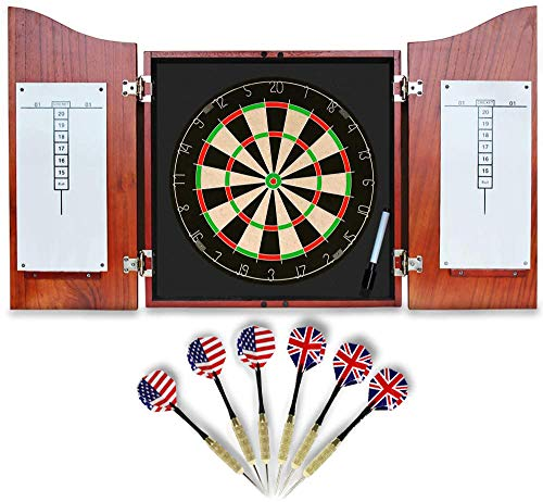 Dart Board for Adults Ready to Play Bundle with Bristle Dartboard w/Solid Wood Cabinet+ 2 Set Steel Tip Darts + Marker + Dart and Marker Storage Panel, Classic Dartboard with Cabinet