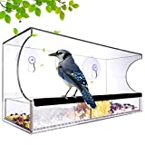 Nature_Decor Large Acrylic Clear Window Bird Feeder with Removable Seed Tray Includes 64 Drain Holes
