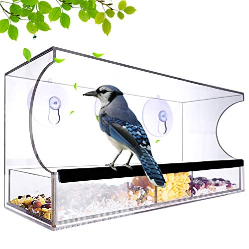 Nature-Decor Window Bird Feeders Outside with Removable Tray Seed Tray Weatherproof Acrylic Clear Bird Feeder Includes 64 Drain Holes