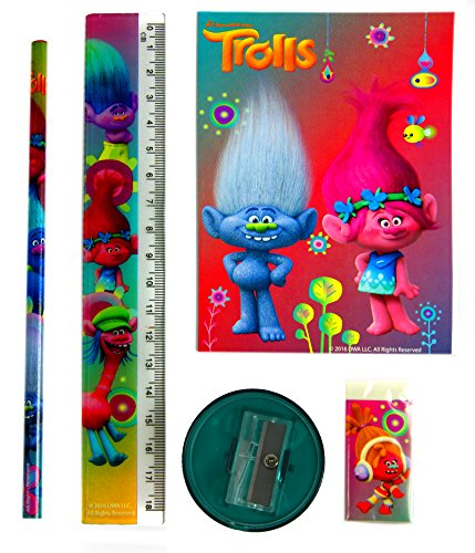 Trolls Stationery Set 5 Piece(Notebook,Sharpener,Ruler,Pencil,Eraser ) Official Licensed