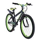 BIKESTAR Vélo Enfant pour Garcons et Filles de 10-13 Ans | Bicyclette Enfant 24 Pouces VTT avec Freins | Noir & Vert