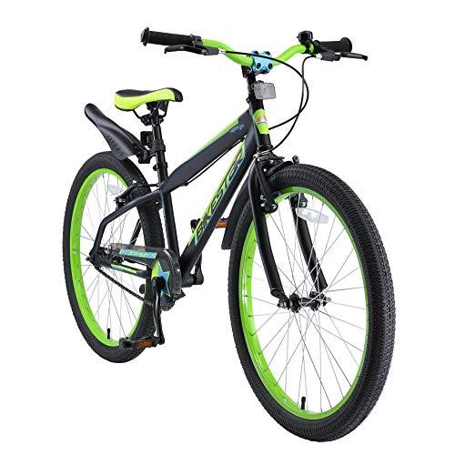BIKESTAR Bicicleta Infantil para niños y niñas a Partir de 10 años | Bici de montaña 24 Pulgadas con Frenos | 24' Edición Mountainbike Nero Verde