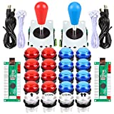 Fosiya LED Arcade Joystick Buttons Kit Ellipse Oval Style 8 Ways Joystick + 20 x LED Arcade Buttons for 2 Player Video Games Standard Controllers All Windows PC MAME Raspberry Pi (Red + Blue Kits)