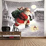 Fandoria tapiz de pared decoración navidad tapiz pared grande papá noel chimenea tapices pared cuelga navideña tapiz decoración hogar (papá noel, 150 * 150 cm)