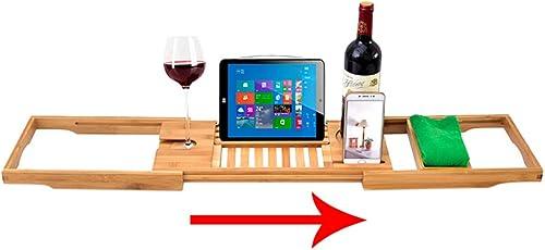 Modenny Plateau de Baignoire en Bambou créatif avec rallonges latérales Support de Tablette pour téléphone portable et Support en Verre à vin