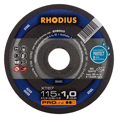 RHODIUS extra dünne Trennscheiben Stahl XT67 Made in Germany Ø 115 x 1,0 mm für Winkelschleifer Metalltrennscheibe 10 Stück