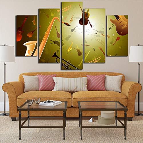 RuYun HD gedrukte canvasfoto's voor de woonkamer muurkunst 5 P muziekinstrument trompet viool poster Home Decor 25x38cm-2p 25x50cm-2p 25x63cm-1p geen lijst