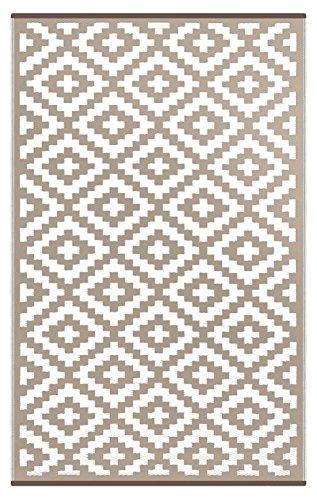 Green Decore Tapis léger Intérieur/extérieur réversible Plastique Tapis Nirvana Taupe Blanc–1,2x 1,8m (120x 180cm), Taupe/Blanc