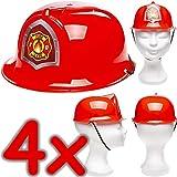Neu: 4 x Feuerwehrhelme für Kinder | Verkleidung zum Feuerwehr-Kindergeburtstag, Fasching und...