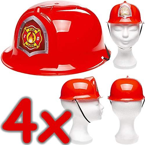 Neu: 4 x Feuerwehrhelme für Kinder | Verkleidung zum Feuerwehr-Kindergeburtstag, Fasching und Mottoparty | Jedes Feuerwehrmann-Kind liebt Diese Helme!
