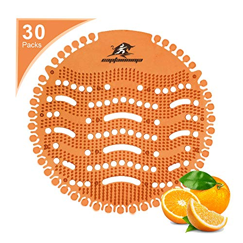 Captain Ninja Urinal Screen Deodorizer (30 Pack) - Scent Lasts for Up to 32 Days – Anti-Splash &Ideal for Any Public Business Facilities Bathrooms (Tangerine)