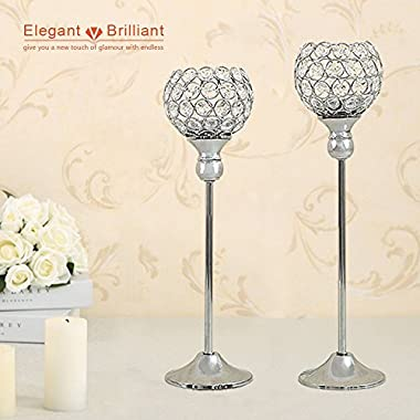 VINCIGANT Modern Silver Crystal Candle Holders/Decorative Candle Lanterns for Anniversary Celebration,Dining Room Coffee Table Decorative Centerpiece/Housewarming Gifts,Set of 2