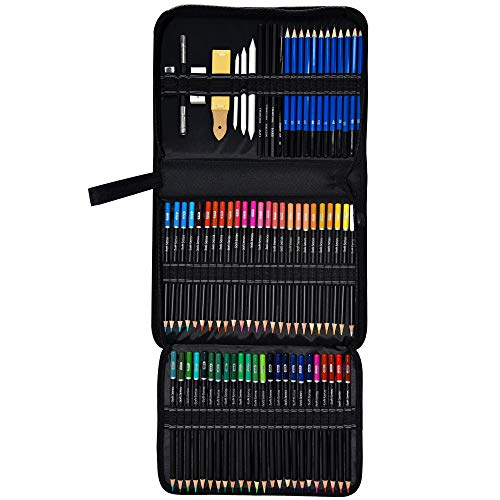 Orionstar 95-Piece Colored Pencils Set, Drawing Pencils and Sketching Kit with Zipper Case, Professional Sketch Art Supplies for Adults Sketching Shading Coloring Book, 72 Colors + 23 PCS
