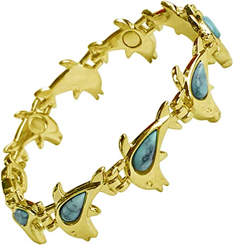 Womens Magnetic Therapy Health Bracelet for Ladies - Natural Pain Relief for Arthritis and Carpal Tunnel - Turquoise Stone Dolphin Fashion Jewellery - Includes Jewellery Gift Box