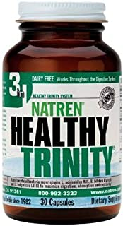 Natren Healthy Trinity Dairy-Free, Gluten-Free Probiotic to Improve Digestive Health, 30 Capsules