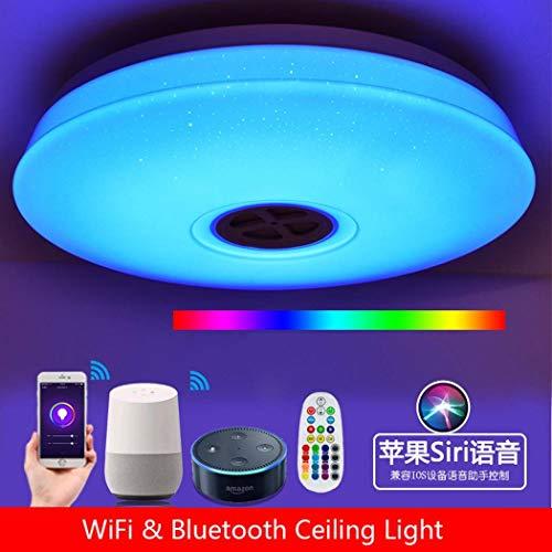 #Tubo de lámpara de techo Luz de techo LED de Φ36cm, lámpara de techo Amazon WiFi WiFi con altavoz Bluetooth, 24W, 95V-265V, soporte de Alexa Echo y aplicación para smartphone de Google regulable Lámp