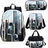 USA 15 'mochila escolar y bolsa de almuerzo, diseño de arquitectura americana 4 en 1