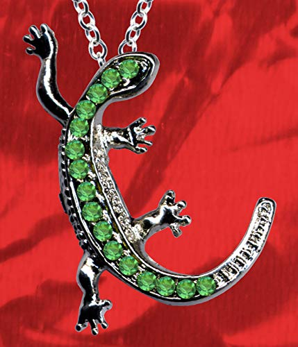 Silberkette Kette + Silberanhänger Anhänger Salamander Collier Echt Sterling 925 Silber Zirkonia Kristalle Silbercollier Kettenanhänger Eidechse Gecko Echse neu gut schön modisch grün