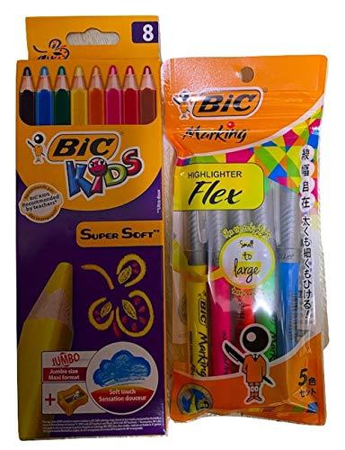 ビック BICKIDS 色鉛筆 スーパーソフト 8色 鉛筆削り付き BKSSFT8E+ビック 蛍光ペン マーキングハイライターフレックス 5色 MGHLFL5P