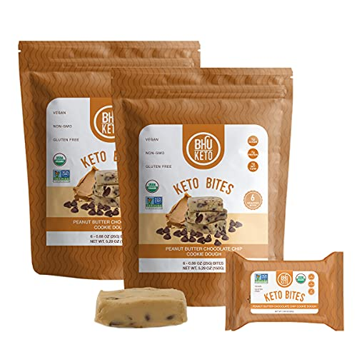 BHU Keto Bites - 1g Net Carb, 1g Sugar - Organic Keto Snack made with Clean, Gluten Free Ingredients - 6 Individually Wrapped Snacks per Bag, 2 Bags (Peanut Butter Chocolate Chip Cookie Dough)