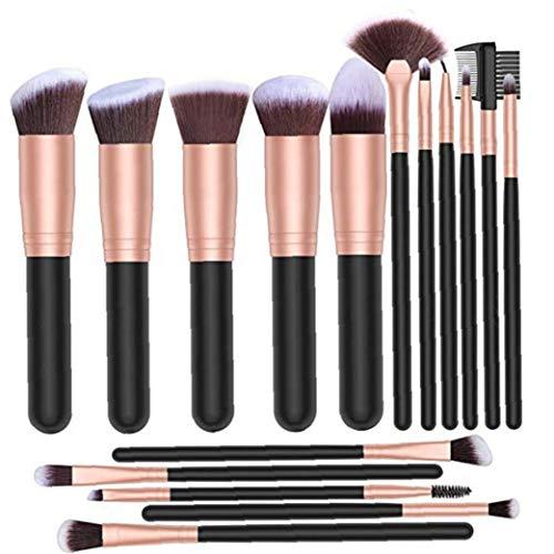 16pcs pinceaux de maquillage haut de gamme cosmétiques Brosses avec manche en bois pour la Fondation Blending fard à joues Correcteur Ombre à paupières Maquillage Fournitures Rose d'or