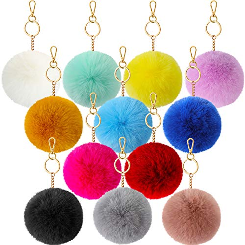 12 Pieces Pom Poms Keychain Fluffy Ball Keychain Faux Rabbit Fur Pompoms Keyring for Hat Shoe Accessory, 12 Colors, 3.1 Inch