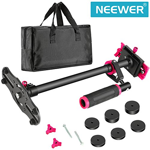 Neewer Aluminium Alloy 24 inches/60 Centimeters Handheld Stabilizer with 1/4 3/8 inch Screw Quick Shoe Plate for Canon Nikon Sony Other DSLR Camera Video DV up to 6.6 pounds/3 kilograms(Black+Red)