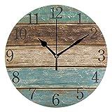Mnsruu Reloj de pared redondo de madera de color antiguo, pintura al óleo silenciosa sin garrapatas para dormitorio, sala de estar, oficina, escuela, decoración del hogar