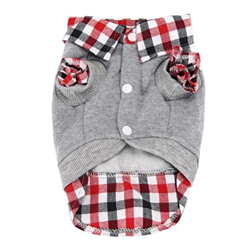 Voberry® Dog Cat Grid Sweater Puppy Warm T-Shirt Pet Clothes POLO Shirt...