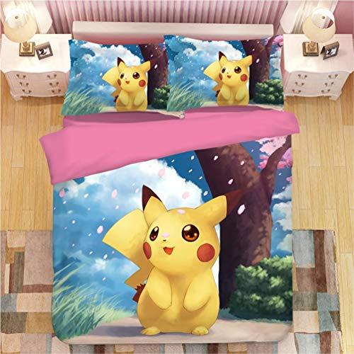 Juego de ropa de cama Pokemon Pikachu, funda de edredón y funda de almohada, microfibra, impresión digital 3D, juego de cama de tres piezas Funda Nórdica Pikachu Anime (B1,135 x 200 cm-Cama 90cm)