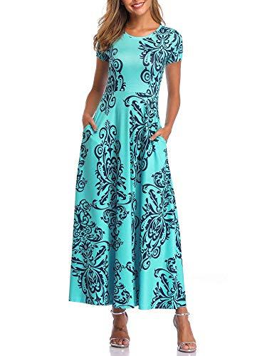 ZABERRY Womens Maxi Sundresses Short Sleeve Casual Maxi Dresses with Pockets Aqua XL