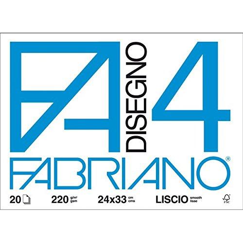 Fabriano 05201597 Disegno 4, Liscio Riquadrato, 24 x 33 cm, 220 G/Mq, 20 Fogli