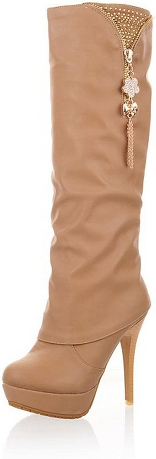 WeiPoot Women's Closed Round Toe Spikes-Stilettos PU Solid High-Top Boots, Beige, 38