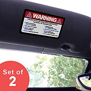 Artistic Reflection Small - Warning Funny Safety Rules - Visor Sticker Set for Mini Cooper