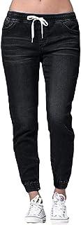 Yying Mujer Pantalones Mezclilla Elasticos Skinny Jeans Vaqueros Cintura Alta Cordón Jeans Slim Fit Pantalones Lápiz Suelt...
