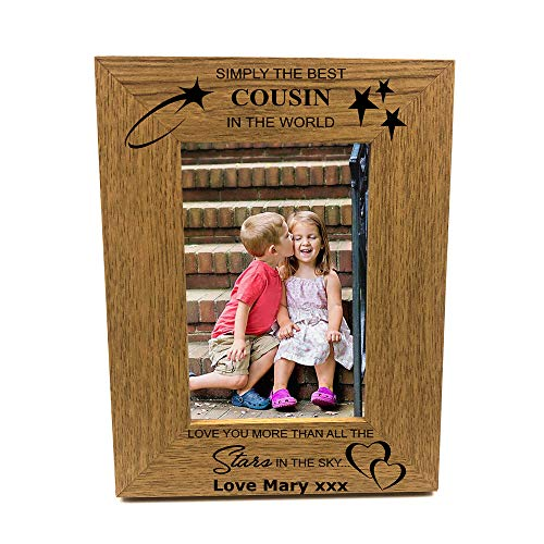 ukgiftstoreonline Personalised Best Cousin Portrait Wooden Photo Frame Gift...