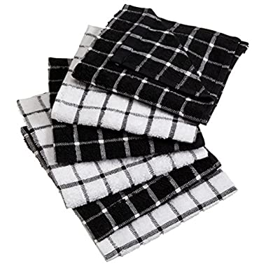 DII Cotton Terry Windowpane Dish Cloths, 12 x 12  Set of 6, Machine Washable and Ultra Absorbent Kitchen Bar Towels-Black