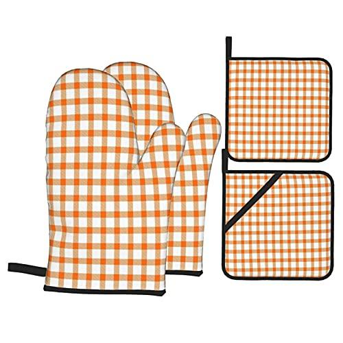 Juego de 4 manoplas para horno y soportes para ollas,patrón de ladrillo refractario a cuadros naranja y blanco,guantes de poliéster para barbacoa con forro acolchado,