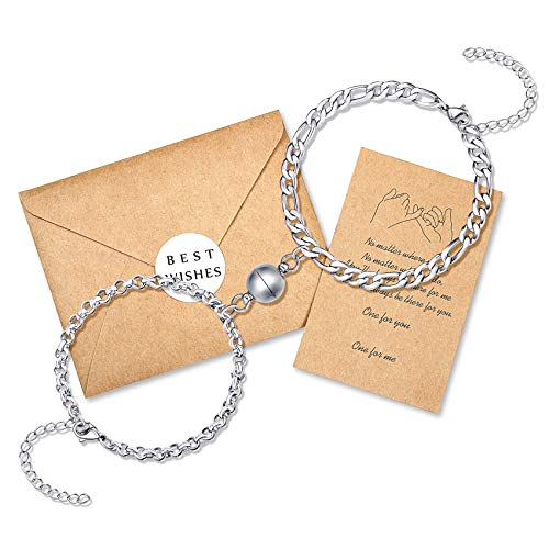Magnetic Couples Bracelets Mutual Attraction Matching Forever His and Hers Relationship Friendship Chain Bracelet Couple Gifts for Women Men Boyfriend Girlfriend Him Her