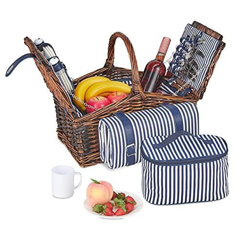 Relaxdays Picknickkorb für 4 Personen, 24-TLG. Picknick Set, Picknickbesteck, Kühlfach, Picknickdecke, Weidenkorb, braun