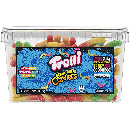 Trolli Sour Brite Crawlers Gummy Worms, 3.96 Pound Tub Sour Gummy Worms from Trolli