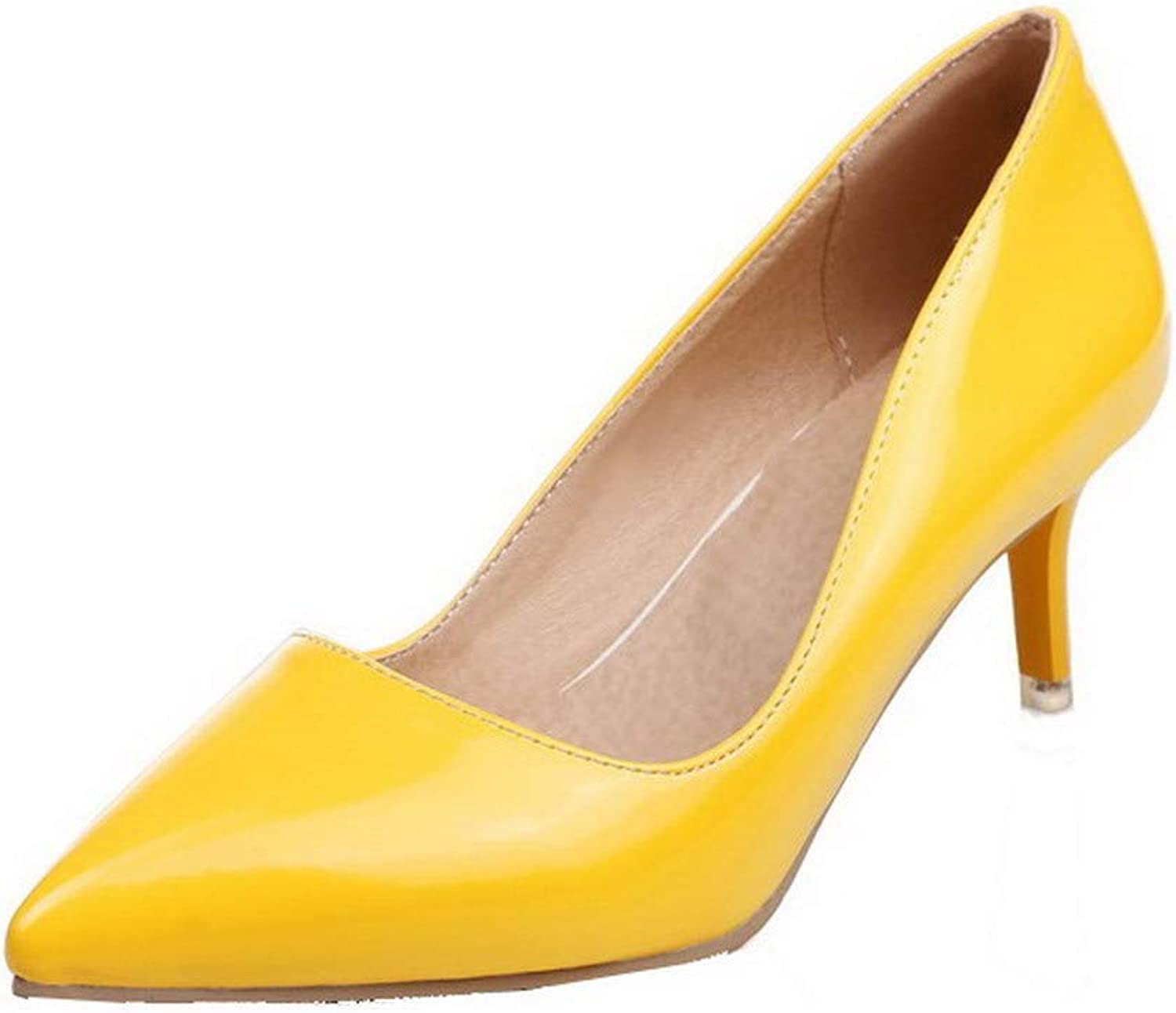 AllhqFashion Women's Pull-On Pointed Closed Toe Patent Leather Solid Pumps-shoes,FBUDD012123