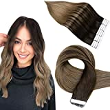 Remy Tape in Hair Extensions Silky Straight Glue in Skin Weft Tape in ombre Human Hair Extensions of Easyouth- 16pulgadas/40cm;#2/8 Dark Brown mix with Ash Brown; 40Gramo