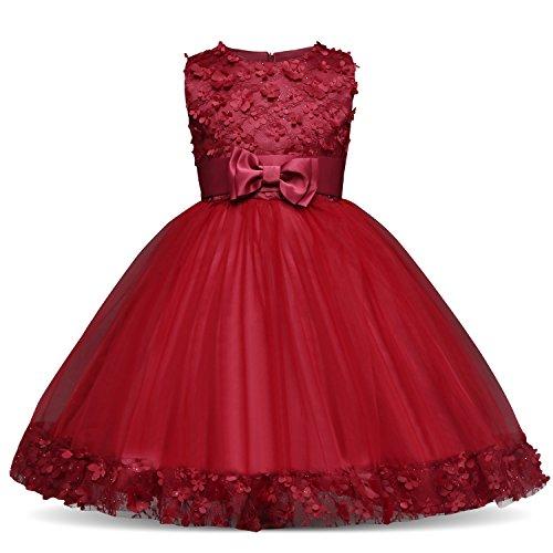 NNJXD Mädchen Kinder Blume Stickerei Spitze Hochzeit Brautjungfer Prinzessin Kleidergröße (110) 3-4 Jahre rot
