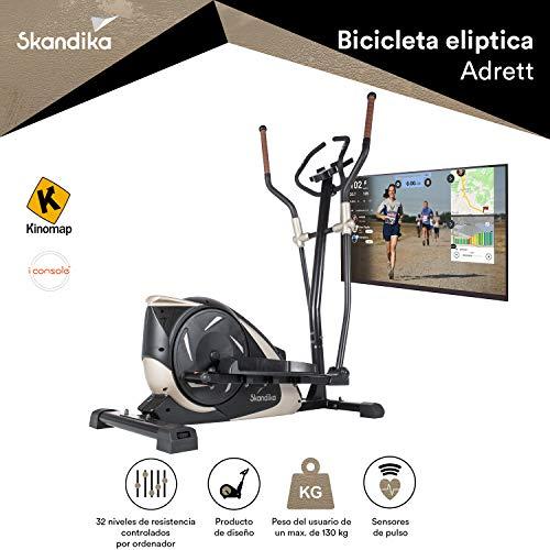skandika Adrett - Bicicleta elíptica - Bluetooth - App - Pulsómetro - 32 Niveles de Resistencia - 12 kg Masa Volante (Negro/Dorado)